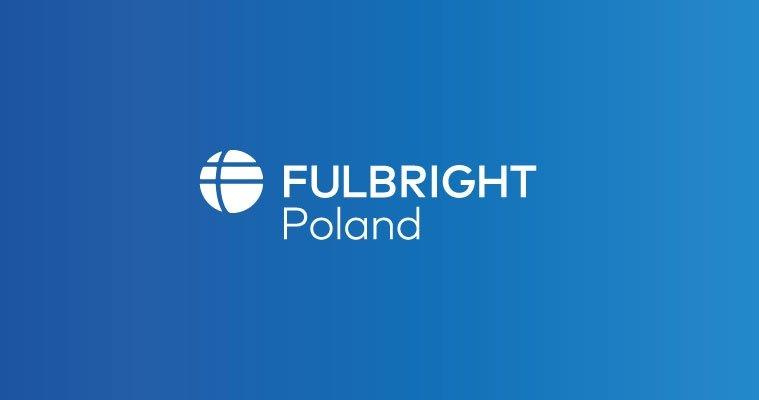 Logo programu - napis Fulbright Poland na niebieskim tle