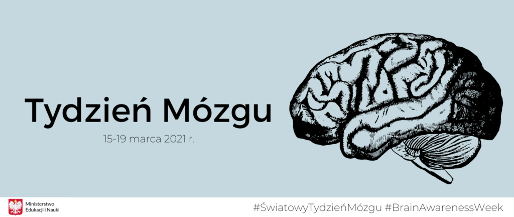 Grafika - ludzki mózg i napis Tydzień mózgu 15 - 19 marca 2021 r.